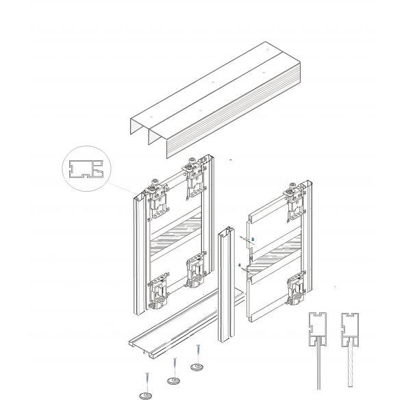 ALUSHAKER  Sliding Door Kits STONE GREY 4 Doors 3M tracks