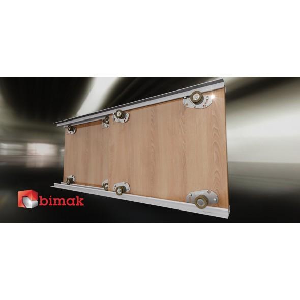 MINI+  SLIDING DOOR KIT  COLOUR SILVER   (2 DOORS, 2M TRACKS)