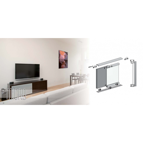 MICRO SLIDING DOOR KIT     (2 DOORS, 2M TRACKS)