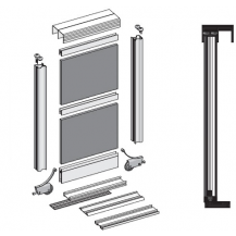 SOLAR II BIS SLIDING DOOR KIT, COLOUR SILVER (4 DOORS, 4M TRACKS)