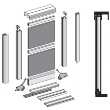 SOLAR I  SLIDING DOOR KIT  COLOR SILVER (2 DOORS  2M TRACKS)