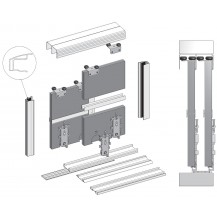SUPER DUO SLIDING DOOR KIT, COLOUR SILVER (4 DOORS, 3M TRACKS)