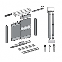 SUPER DUO 5 + SLIDING DOOR KIT, COLOUR SILVER  (4 DOORS, 3M TRACKS)